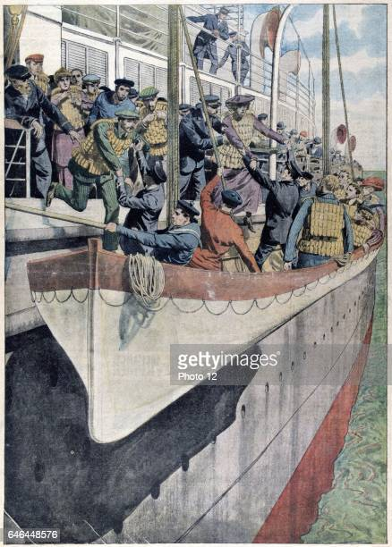 Lifeboat drill on a passenger liner 1912 Operated by the White Star Line on 14 April 1912 SS Titanic struck an iceberg in thick fog off Newfoundland...