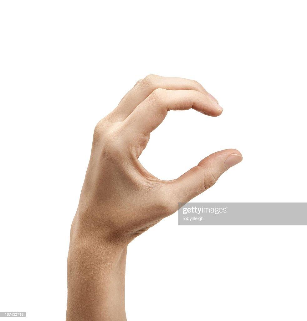 La letra C el uso de lenguaje de signos norteamericano : Foto de stock