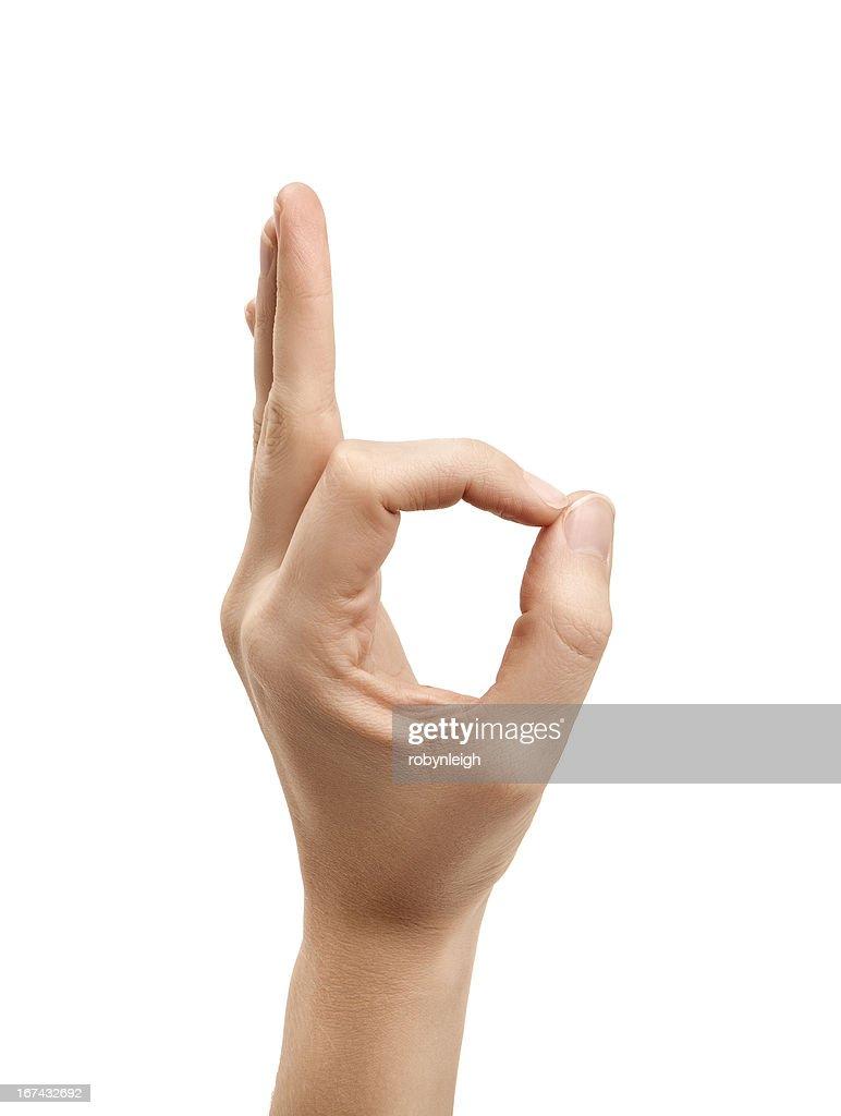 La letra F el uso de lenguaje de signos norteamericano : Foto de stock