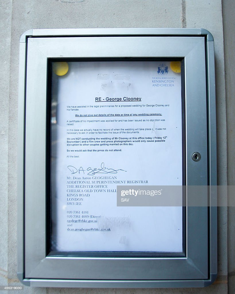 The letter issued by Chelsea Town Hall on September 12 2014 in London England