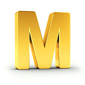 The Letter M as a polished golden object over white background with clipping path for quick and accurate isolation.