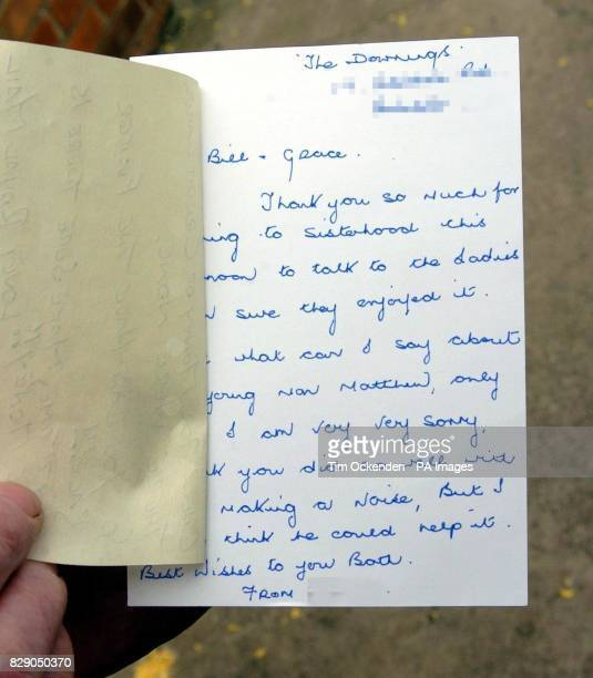 The letter which contained the note apparently written by a Royal Mail employee which an elderly couple found after opening a thankyou card William...