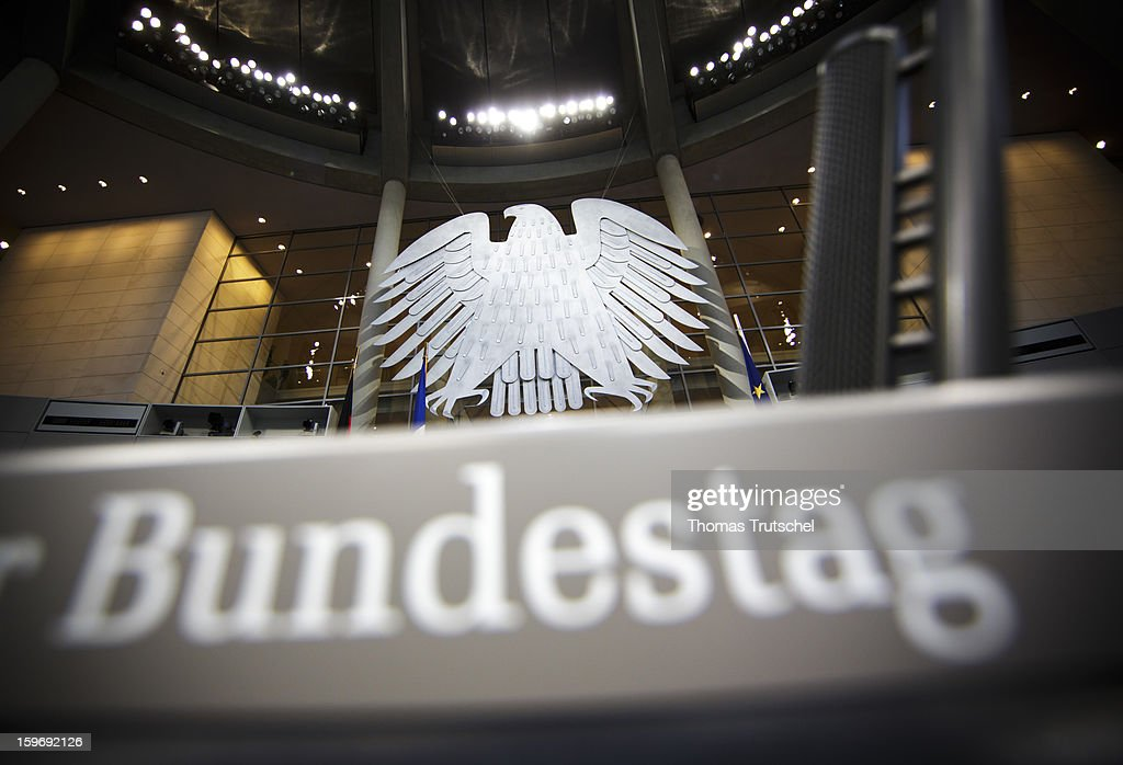 The lettering Bundestag seen on a lectern at Reichstag, the seat of the German Parliament (Bundestag) on January 18, 2013 in Berlin.