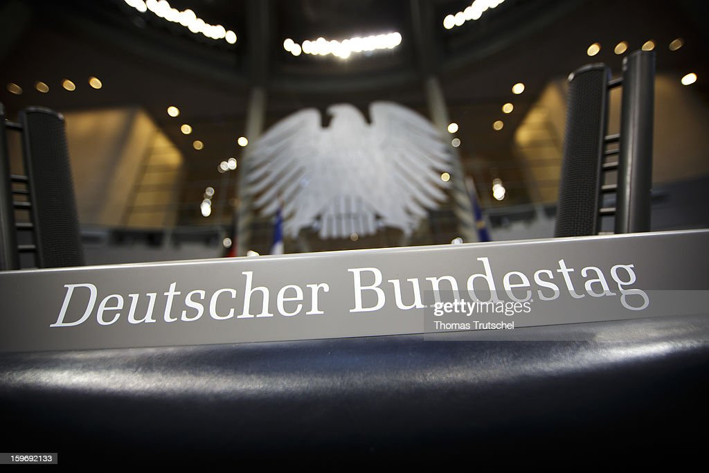 The lettering Deutscher Bundestag is seen on a lectern at Reichstag, the seat of the German Parliament (Bundestag) on January 18, 2013 in Berlin.