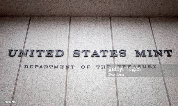 The lettering of the United States Mint sits on the facade of the building in Philadelphia Pennsylvania US on Thursday Feb 25 2010 US stocks pared...