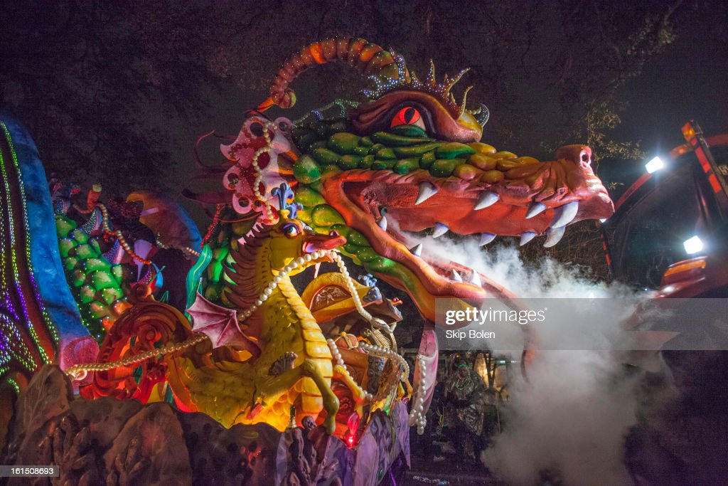 The Leviathan dragon float with breathing smoke and fiber optic lighting in the 2013 Krewe of Orpheus Mardi Gras Parade on February 11, 2013 in New Orleans, Louisiana.