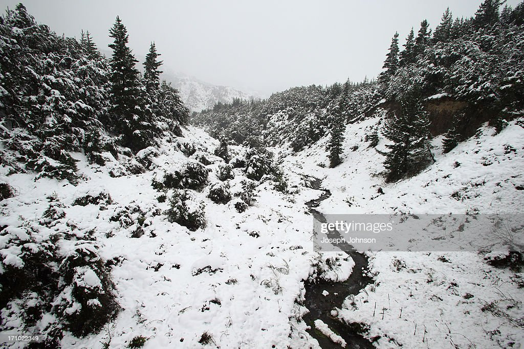 The Lewis Pass is seen on June 21, 2013 in Christchurch, New Zealand. Now, sleet, rain and heavy winds have hit the region causing power outages, some flooding and bringing trees down.