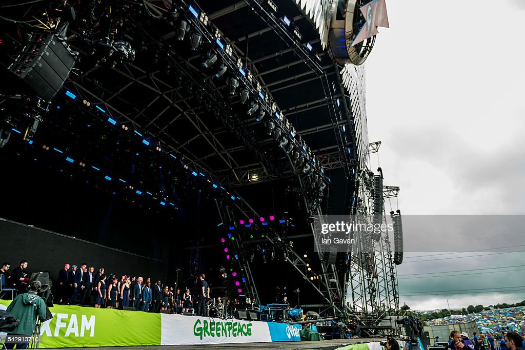 The Lewisham and Greenwich NHS Choir perform on the Pyramid Stage on day 2 of the Glastonbury Festival at Worthy Farm, Pilton on June 25, 2016 in Glastonbury, England. Now in its 46th year the festival is one largest music festivals in the world and this year features headline acts Muse, Adele and Coldplay. The Festival, which Michael Eavis started in 1970 when several hundred hippies paid just £1, now attracts more than 175,000 people.