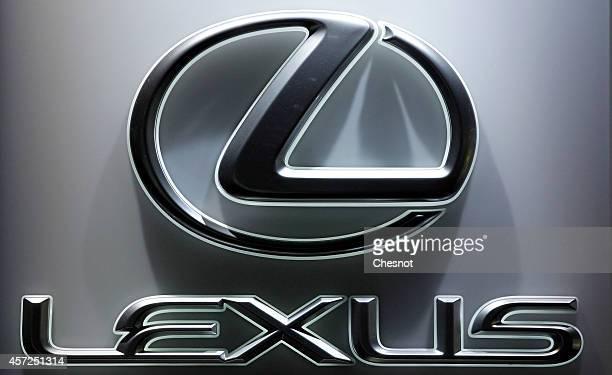 lexus logo. the lexus logo is seen during paris motor show on october 14 in france