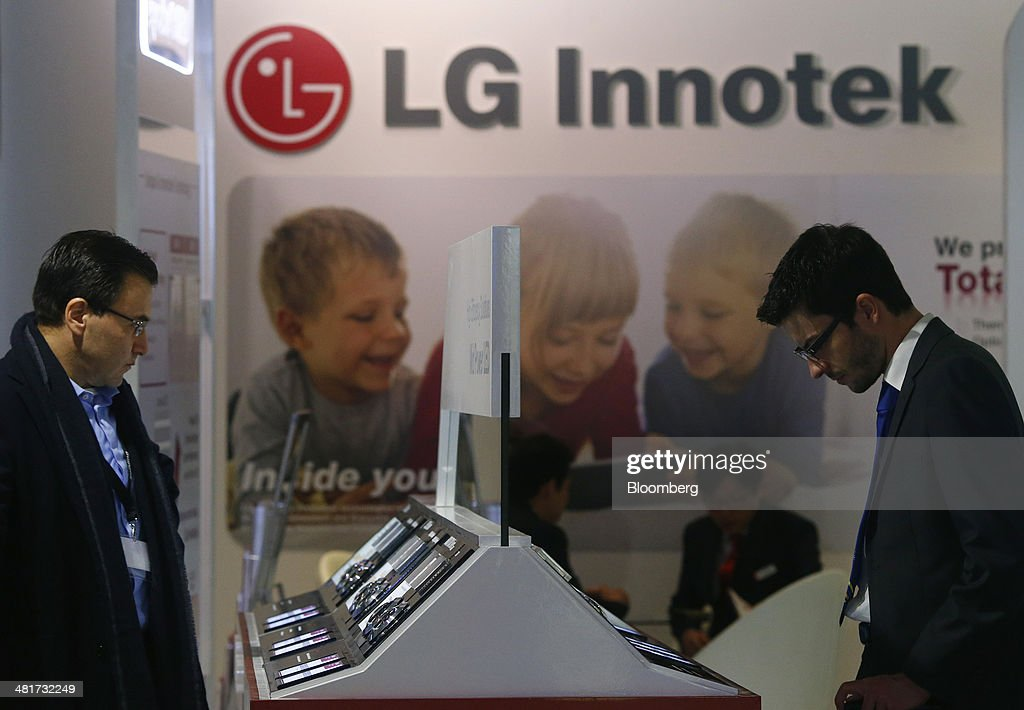 The LG Innotek Co. Ltd. logo sits on display at the company's booth at the Light and Building Architecture and Technology Fair, in Frankfurt, Germany, on Monday, March 31, 2014. The Light and Building Architecture and Technology Fair takes place from March 30 to April 4 2014. Photographer: Ralph Orlowski/Bloomberg via Getty Images