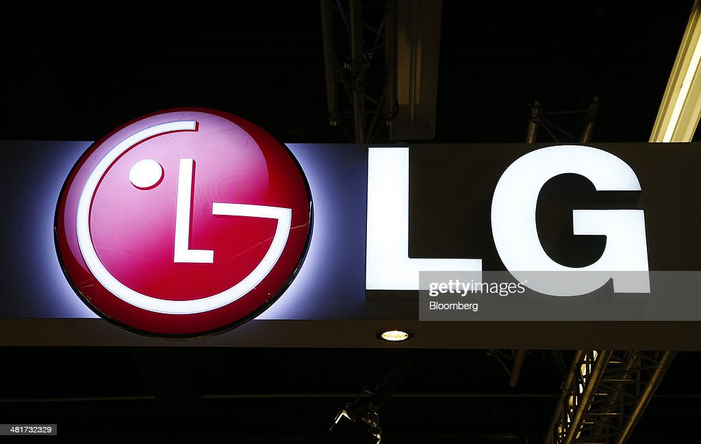 The LG logo sits on display at the company's booth at the Light and Building Architecture and Technology Fair, in Frankfurt, Germany, on Monday, March 31, 2014. The Light and Building Architecture and Technology Fair takes place from March 30 to April 4 2014. Photographer: Ralph Orlowski/Bloomberg via Getty Images