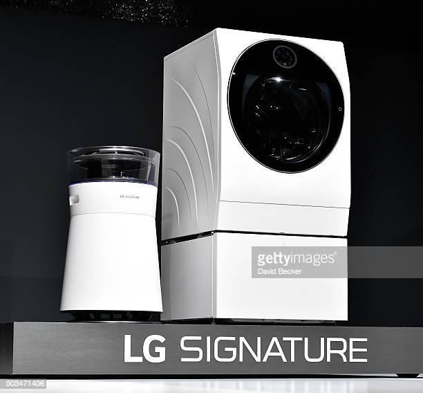 The LG Signature air purifier and washing machine are displayed during a LG press event for CES 2016 at the Mandalay Bay Convention Center on January...