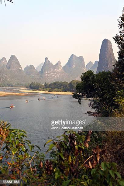 The Li River with limestone karst mountains