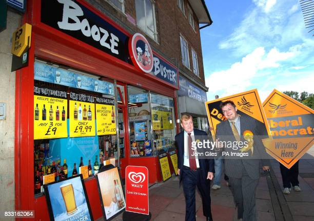 The Liberal Democrat candidate for the constituency of Sedgefield Greg Stone shows former party leader Charles Kennedy around the town of Newton...