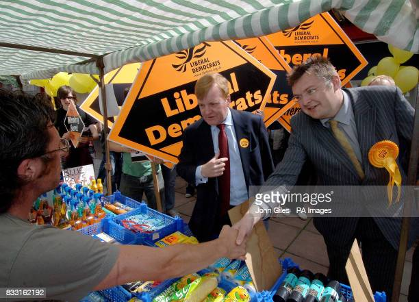 The Liberal Democrat candidate for the constituency of Sedgefield Greg Stone and former party leader Charles Kennedy meet local people in the town of...