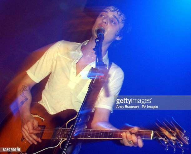 The Libertines frontman Pete Doherty performs during the Love Music Hate Racism ANL Searchlight Benefit concert at The Astoria in central London