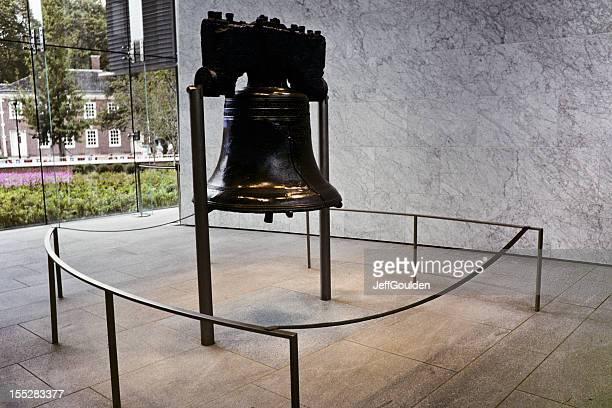 The historic Liberty Bell surrounded with small steel fence