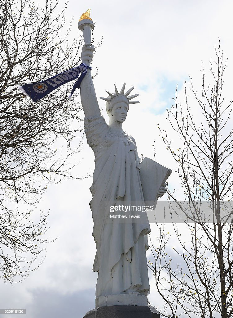 The Liberty Statue pictured with a 10ft Leicester City FC Scarf around it during a Leicester Backing the Blues Campaign in support of Leicester City on April 29, 2016 in Leicester, England.