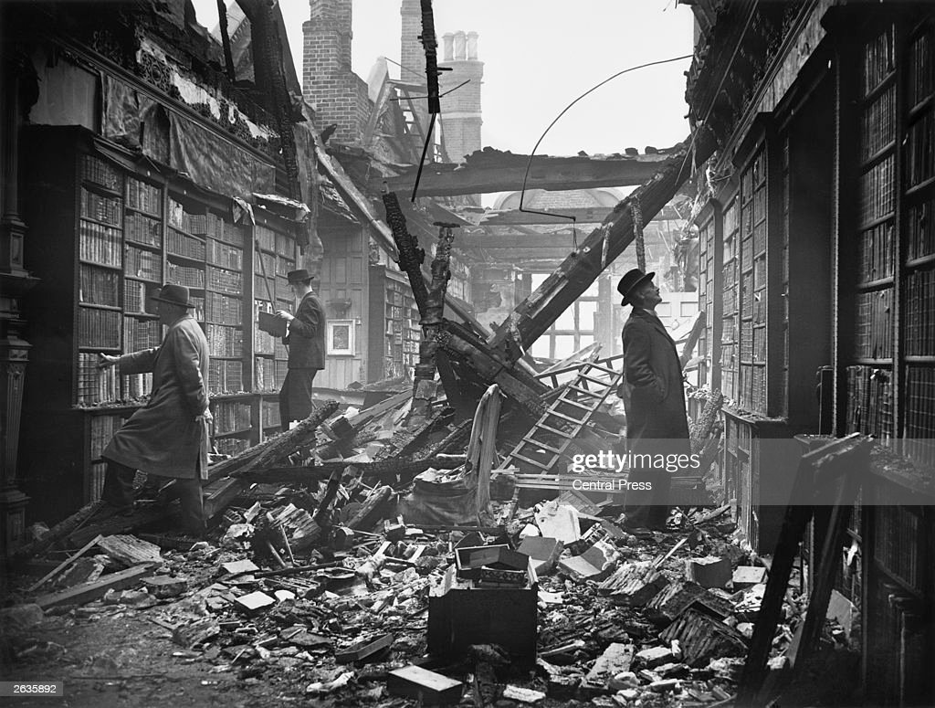 The library at Holland House in Kensington, London, extensively damaged by a Molotov 'Breadbasket' fire bomb.