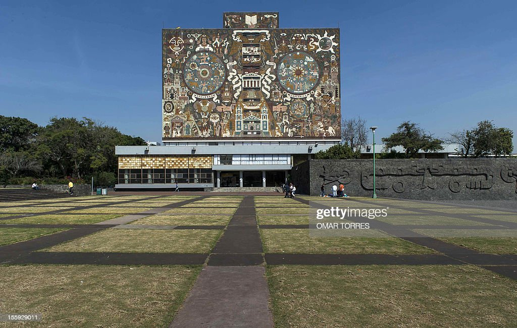 The Library building in the campus of UNAM (Universidad Nacional Autonoma de Mexico) on November 08, 2012 in Mexico City.