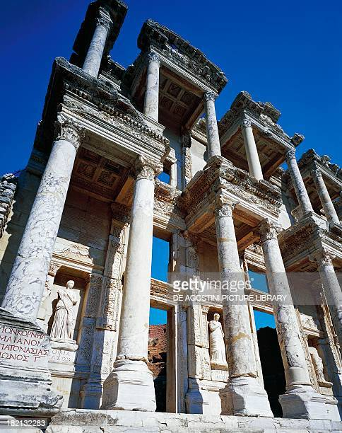 The Library of Celsus built between 110 AD and 135 AD by the Consul Julius Aquila in commemoration of his father Polemeno Julius Celsus Ephesus...