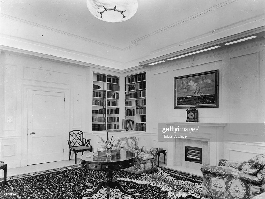 The library of Clarence House in London, 1949. The house ...