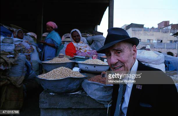 The lieutenant colonel Amedeo Guillet being photo shooted when he came back to Eritrea after 50 years Asmara Eritrea 16th March 2000