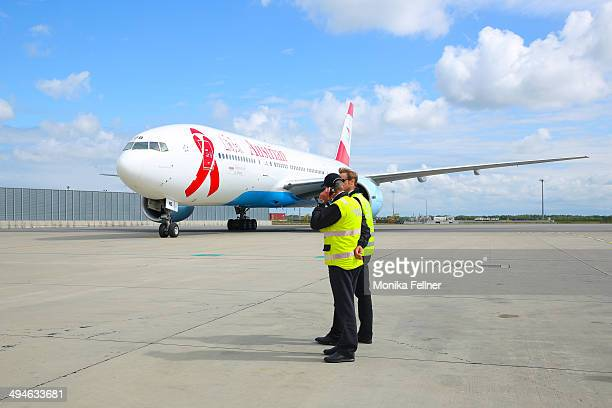The Life Ball Boeing 777 arrives on May 30 2014 in Vienna Austria The Life Ball an annual charity ball raising funds for HIV AIDS projects will take...