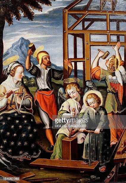 The Life of the Child Jesus Jesus working the wood with his father Dalmatian School 17th century oil on canvas 37x28 cm