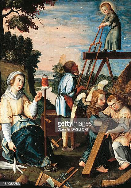 The Life of the Child Jesus the carpenter's shop in Nazareth with Mary spinning wool Dalmatian School 17th century oil on canvas 37x28 cm