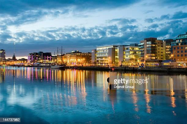 The Liffey riverfront, Custom House Quay at dusk