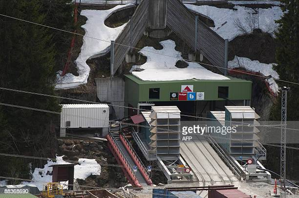 The lift entrance to the 57kilometre railway tunnel under construction under the Alps at Sedrun on May 6 2009 The new St Gotthard tunnel is expected...