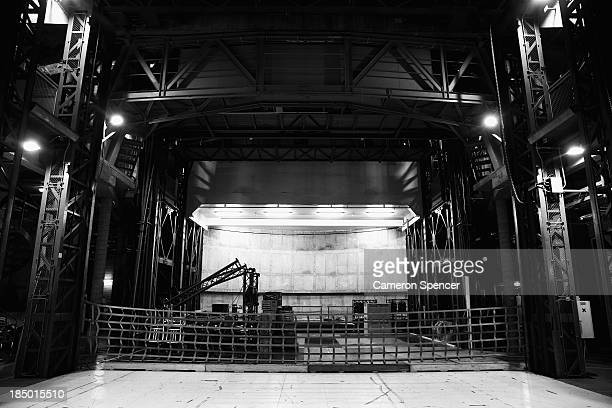 The lifts in the Dame Joan Sutherland Theatre dock are seen two floors below stage level at the Sydney Opera House on October 17 2013 in Sydney...
