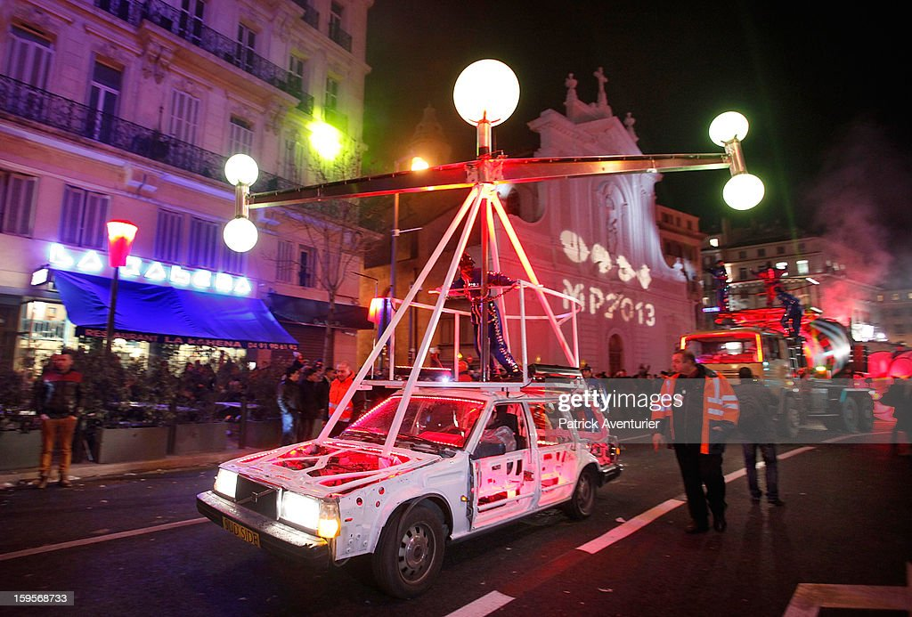 The Light and Mechanics Parade travel across Marseille for the opening celebration,on January 13, 2013 in Marseille, France.In 2013 Marseille Provence is The European Capital of Culture,this week marks the start of a year long programme of cultural and artistic events being held across the region.