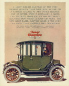 The Light Baker Electric Coupe automobile is shown in a magazine advertisement from 1915 A woman is seated inside the car A holder containing red...