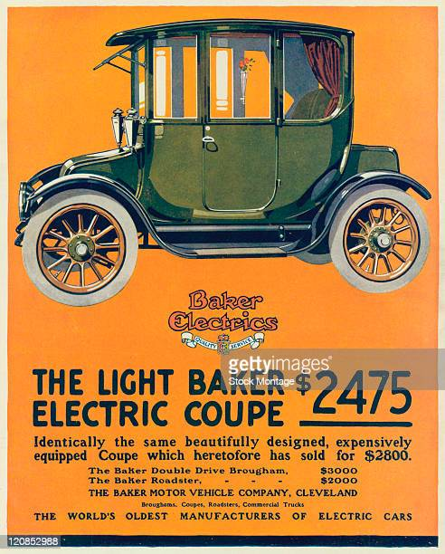 The Light Baker Electric Coupe automobile is shown in a magazine advertisement from 1915 The ad states that the price of the car has been reduced...