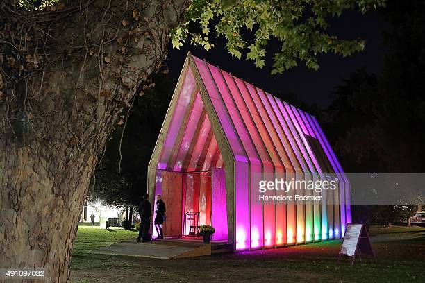 The light church stands at the Metzler Park near the river Main during the 25th anniversary of German reunification on October 2 2015 in Frankfurt...