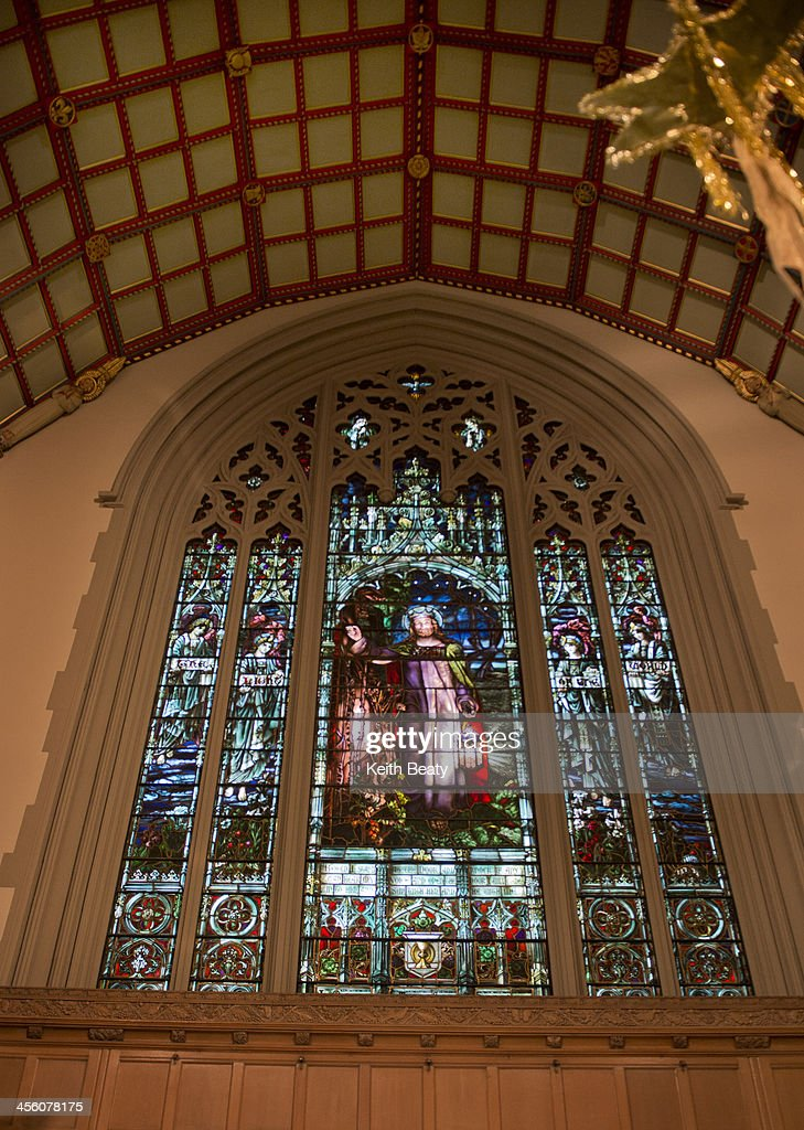 The Light of the World stained glass at Timothy Eaton Memorial Church in Toronto. December 13, 2013.