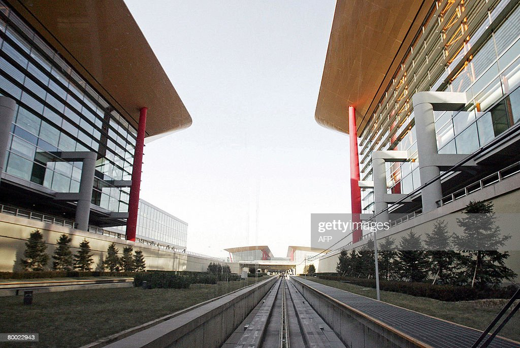 The light rail train station at Beijing's giant new Terminal Three is pictured at Beijing Capital International Airport on February 26 2008 which...