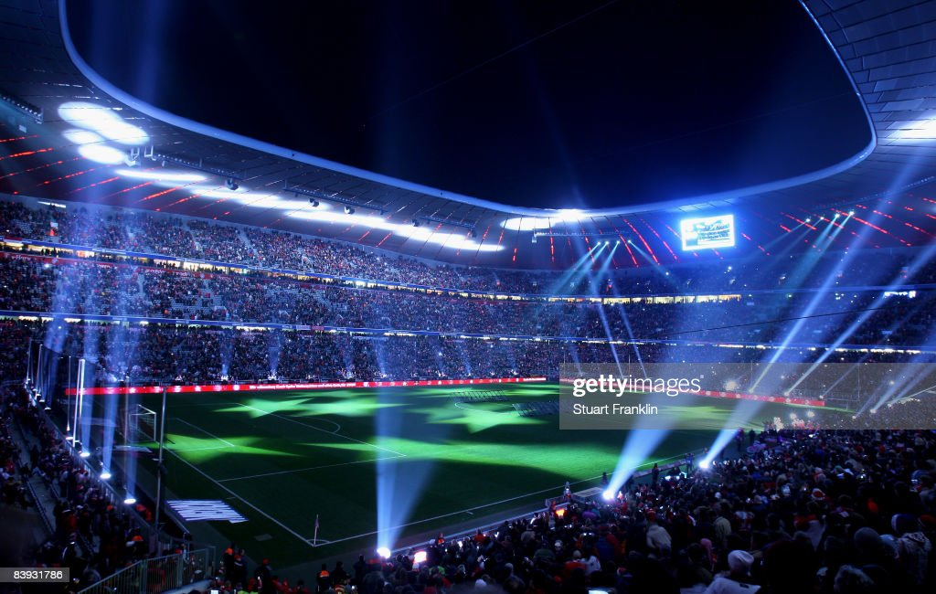 The light show at the end of the Bundesliga match between Bayern Muenchen and 1899 Hoffenheim at the Allianz Arena on December 5 2008 in Munich...