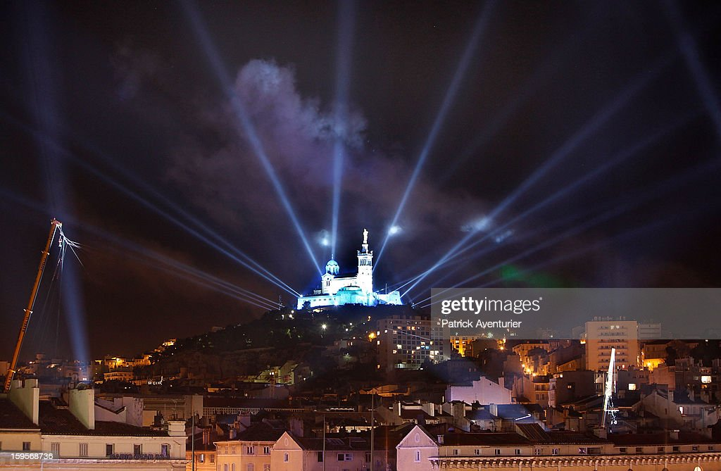 The light show in Marseille for the opening celebration,on January 12, 2013 in Marseille, France.In 2013 Marseille Provence is The European Capital of Culture,this week marks the start of a year long programme of cultural and artistic events being held across the region.