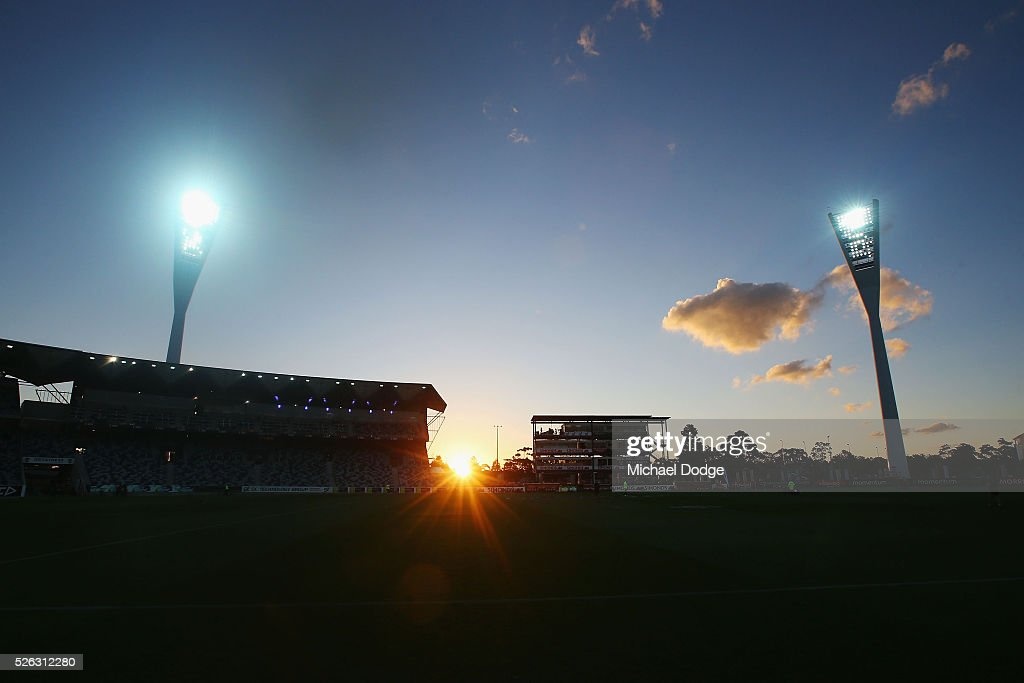 The light towers are seen during the round six AFL match between the Geelong Cats and the Gold Coast Suns at Simonds Stadium on April 30, 2016 in Geelong, Australia.