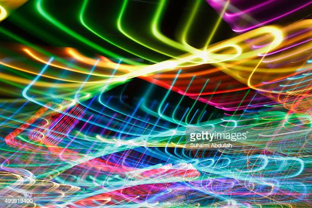 The light trails at the RIBbon @ Read Bridge light installation are seen ahead of the Christmas by the River launch on December 3 2015 in Singapore...