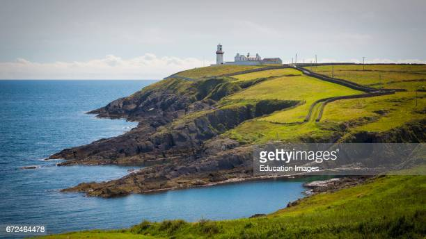 The lighthouse and keepers houses at Galley Head County Cork Republic of Ireland Eire The lighthouse dates from the 1870's