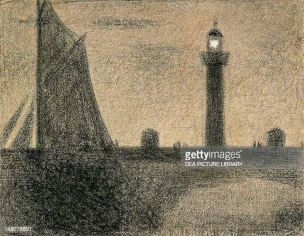 The lighthouse by Georges Seurat drawing pencil on paper 241x308 cm New York The Metropolitan Museum Of Art