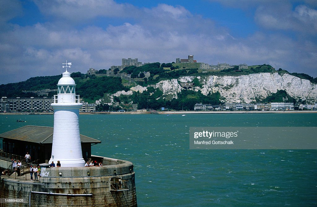 The lighthouse opposite the white cliffs of Dover - Dover, Kent, England