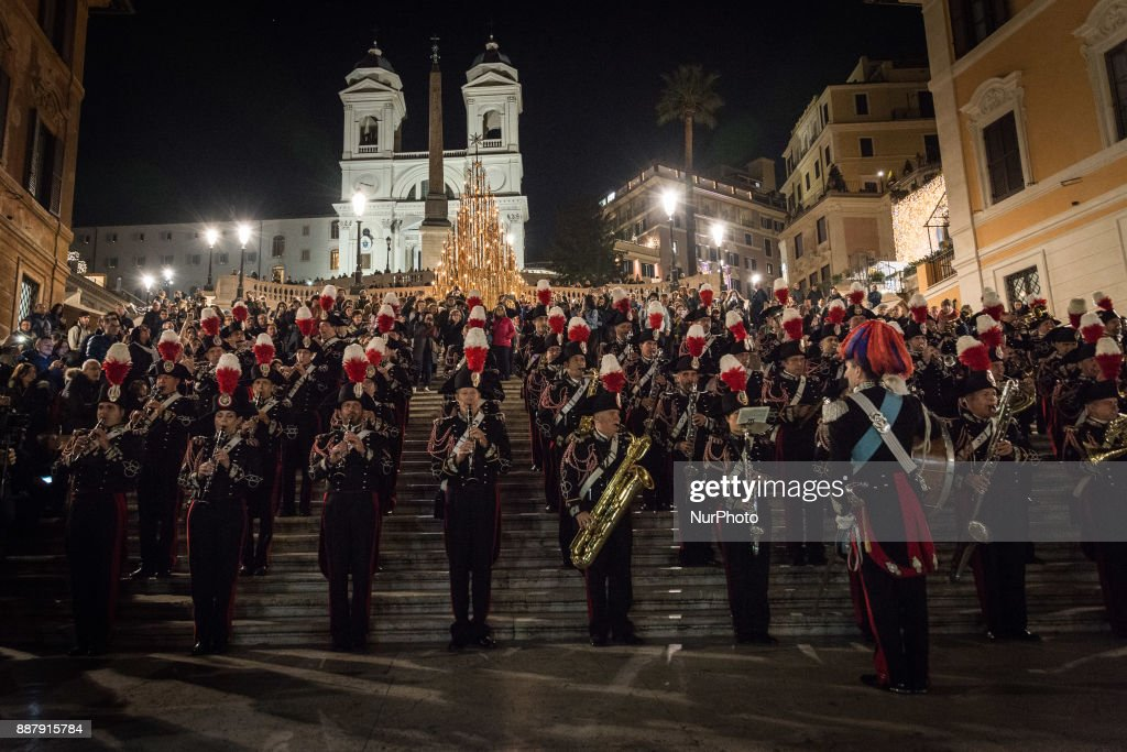The lighting of the illuminations of Via dei Condotti and of the Christmas tree in Trinità dei Monti, which for the fourth consecutive year were offered by Bulgari, All' evento, as Bulgari testimonial, actors Elisabetta Pellini and Alan Cappelli Goetz, Christmas arrived in the historic center of Rome. And this year too, the band of the Carabinieri's Corner Band opened the celebrations with an exhibition that from wide Goldoni, passing through a procession along via dei Condotti, ended on the steps of Trinità dei Monti. on December 7, 2017 in Rome, Italy