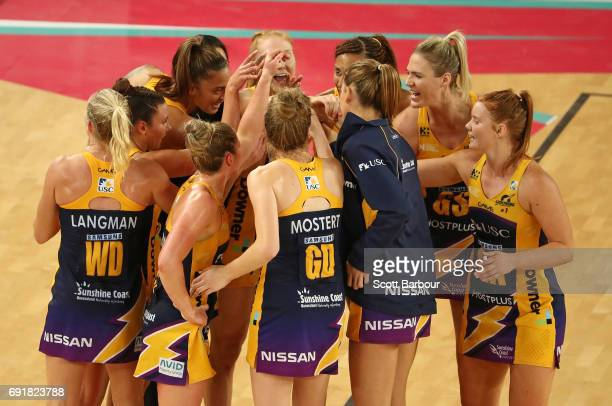 The Lightning form a huddle during the Super Netball Major Semi Final match between the Vixens and the Lightning at Margaret Court Arena on June 3...