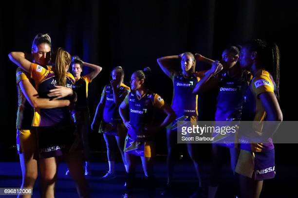 The Lightning wait back stage to be called onto the court during the Super Netball Grand Final match between the Lightning and the Giants at the...