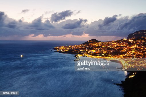 The lights of Funchal, Madeira, at twilight